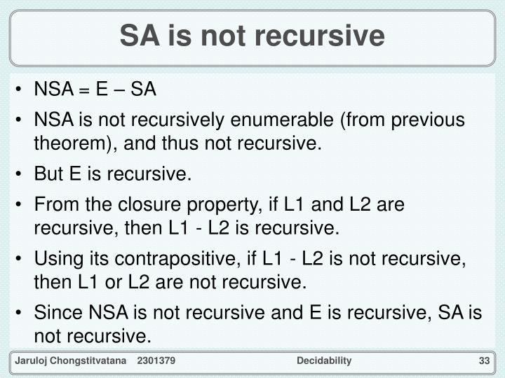 SA is not recursive