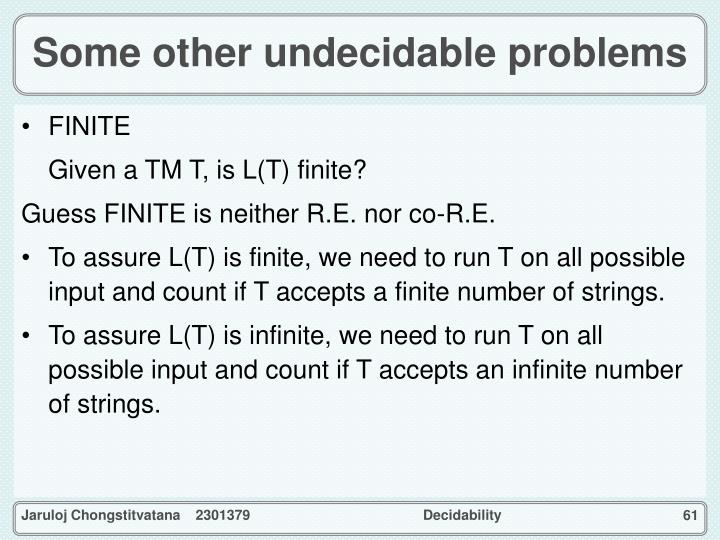 Some other undecidable problems