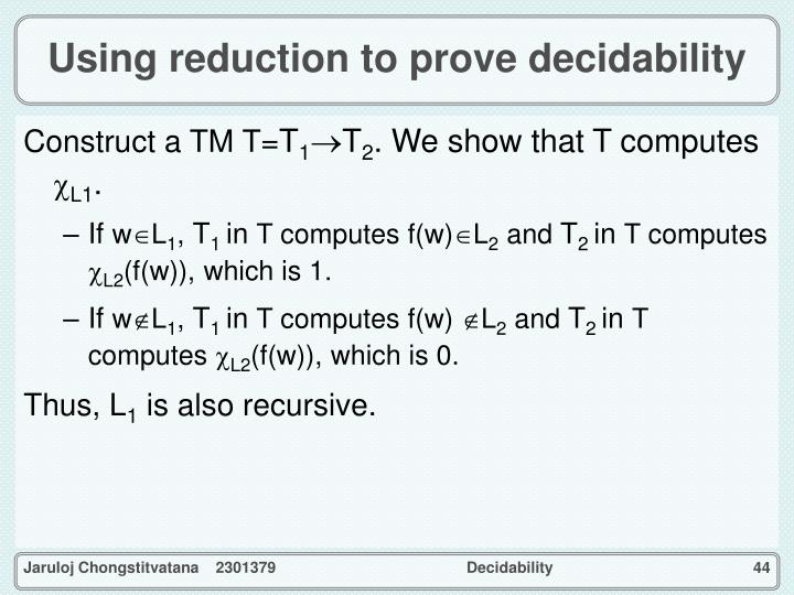 Using reduction to prove decidability
