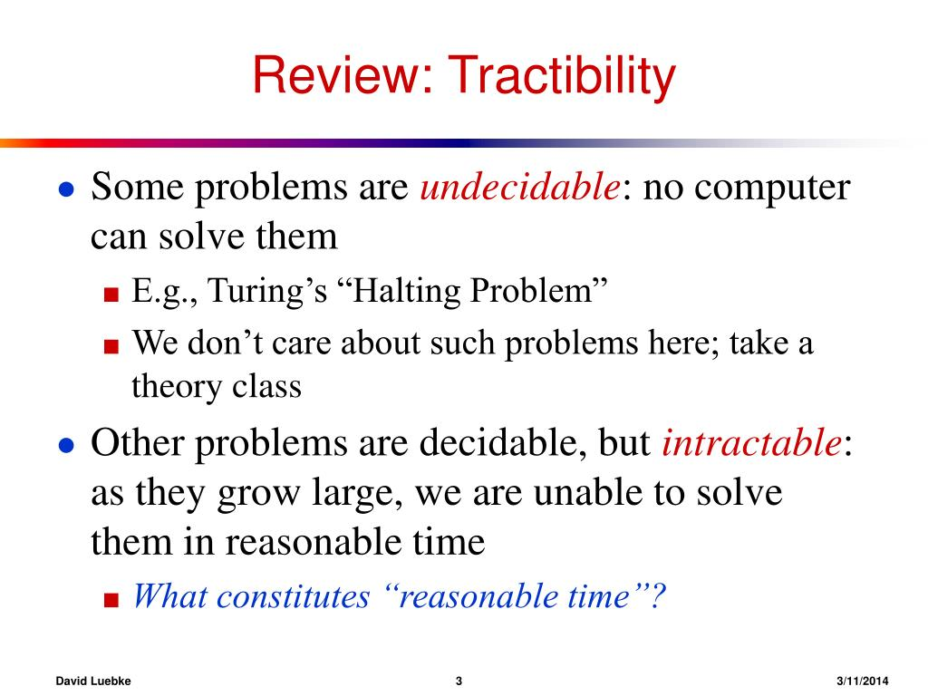 Review: Tractibility