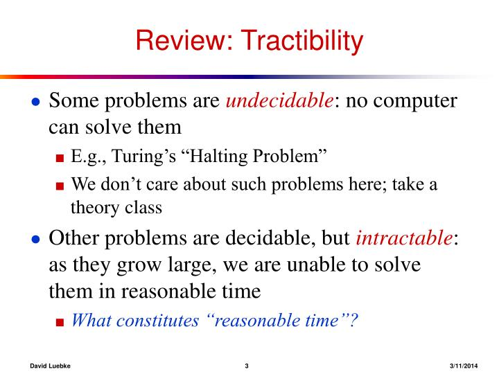Review tractibility