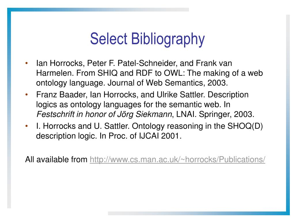 Select Bibliography