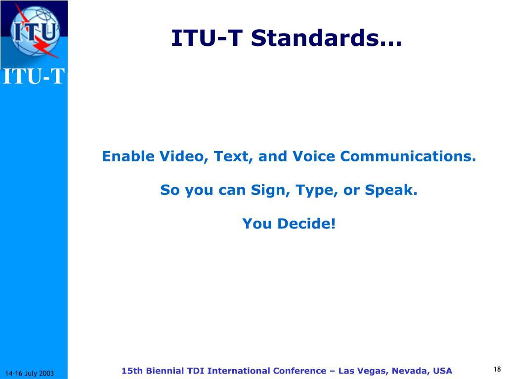 ITU-T Standards…