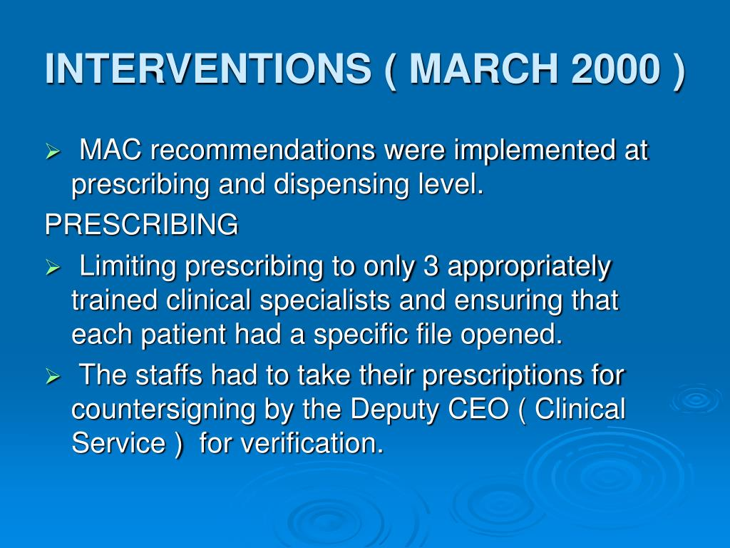 INTERVENTIONS ( MARCH 2000 )