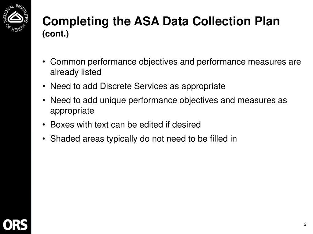 Completing the ASA Data Collection Plan