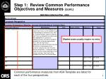 step 1 review common performance objectives and measures cont