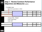 step 1 review common performance objectives and measures cont11