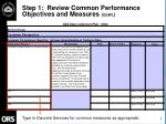step 1 review common performance objectives and measures cont9