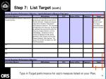 step 7 list target cont