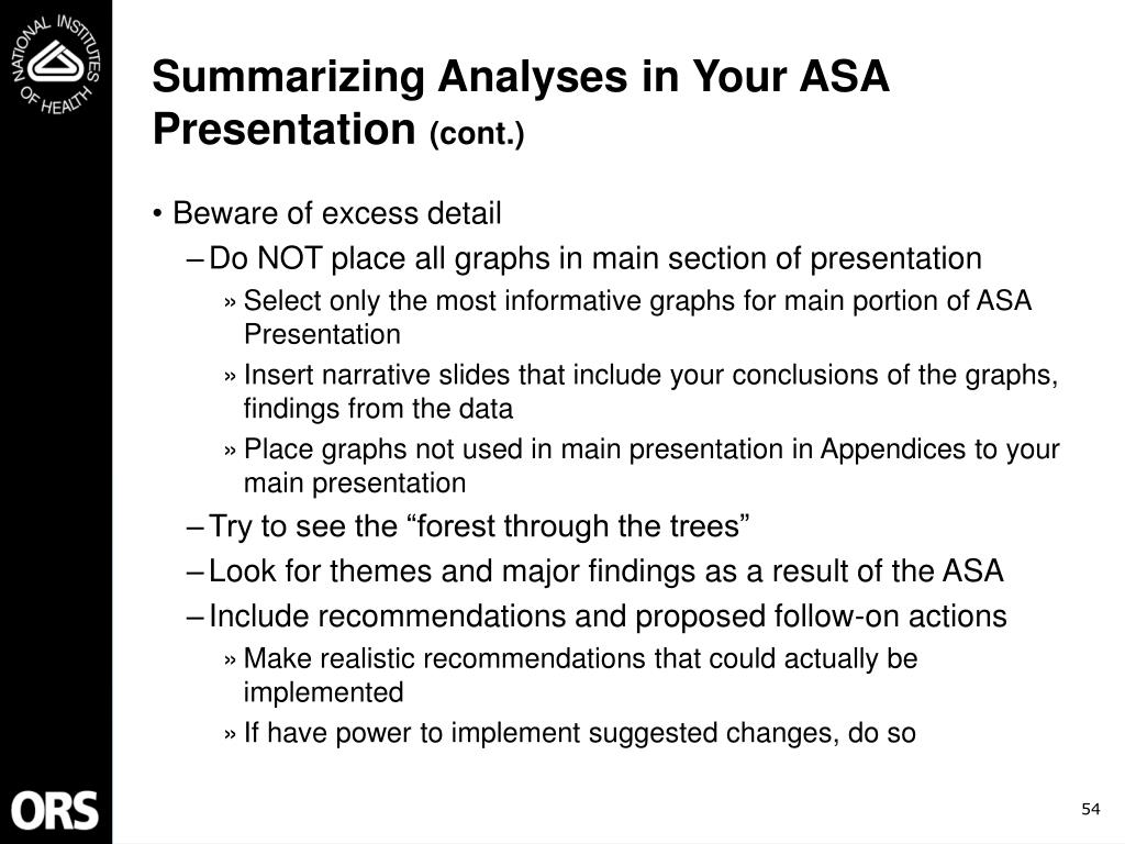 Summarizing Analyses in Your ASA Presentation