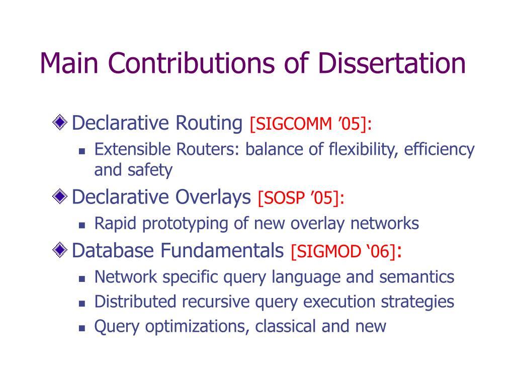 Main Contributions of Dissertation
