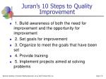 juran s 10 steps to quality improvement