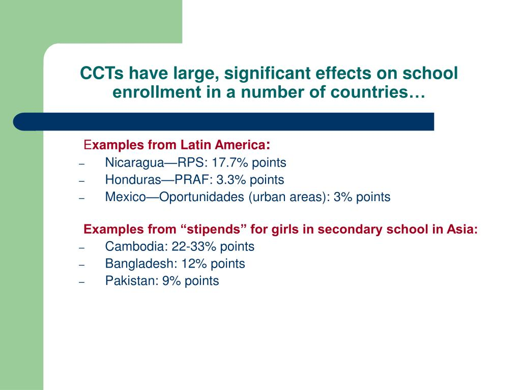 CCTs have large, significant effects on school enrollment in a number of countries…