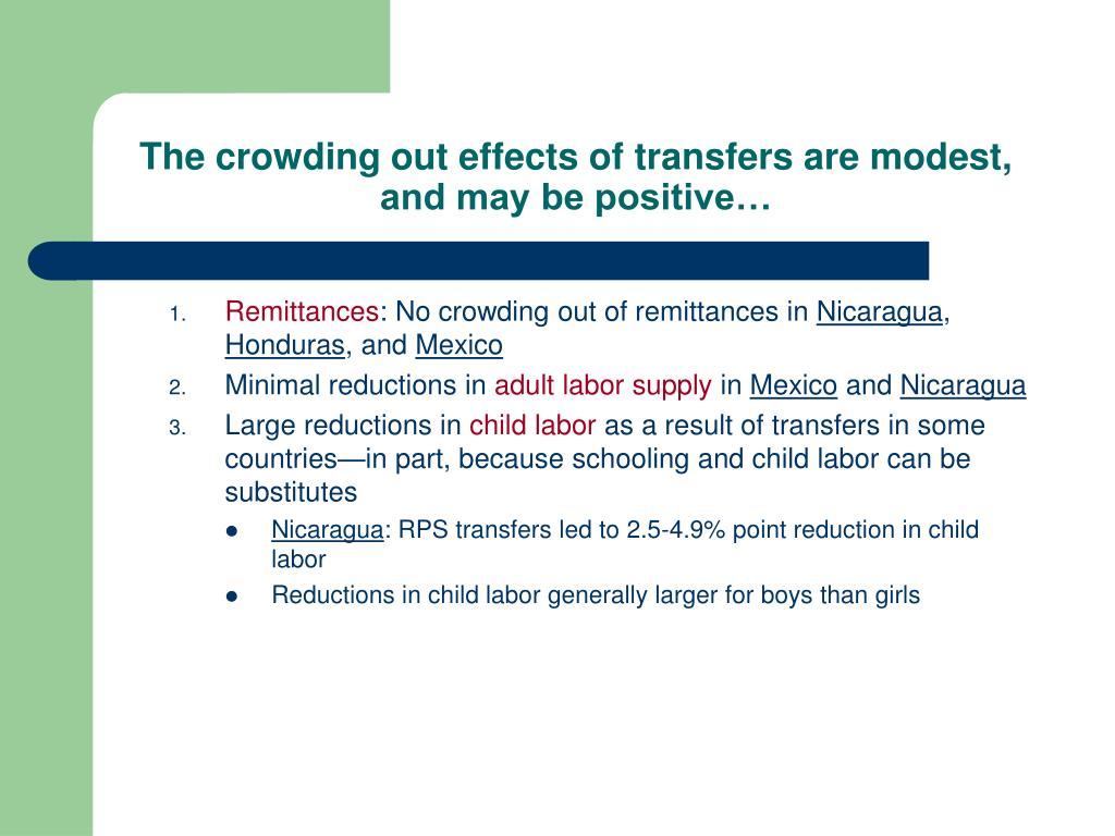 The crowding out effects of transfers are modest, and may be positive…