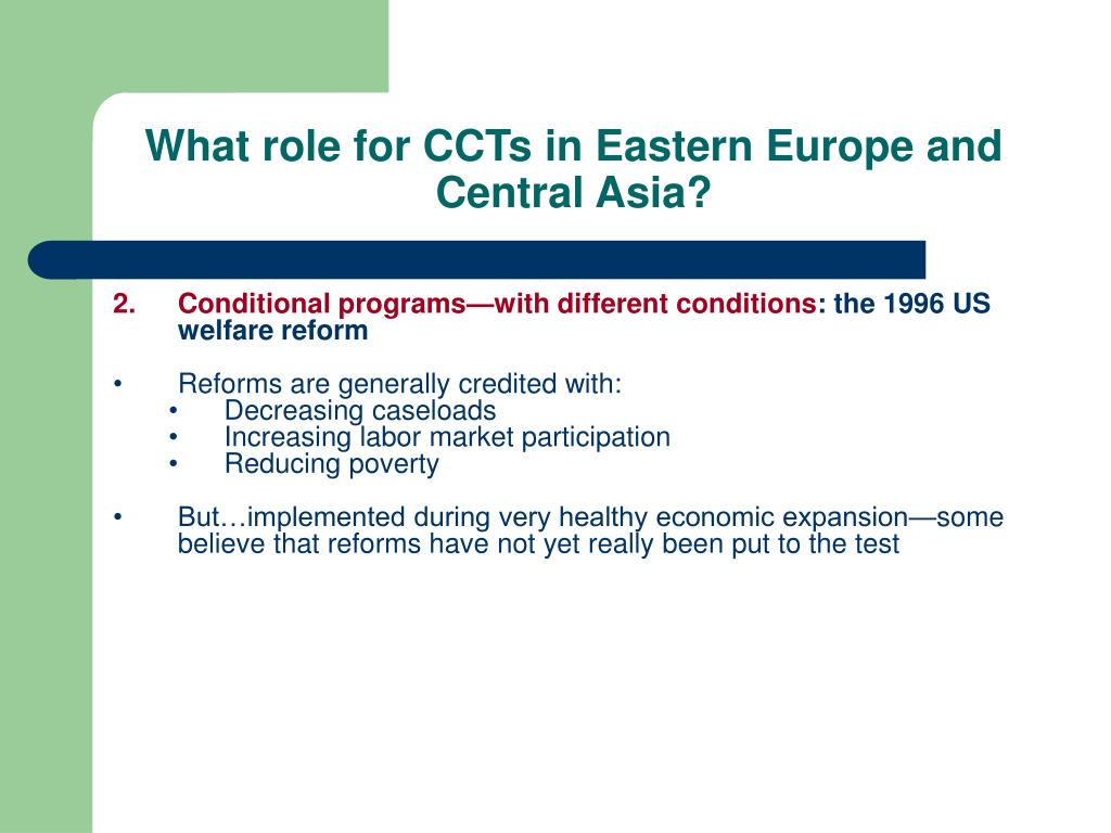 What role for CCTs in Eastern Europe and Central Asia?