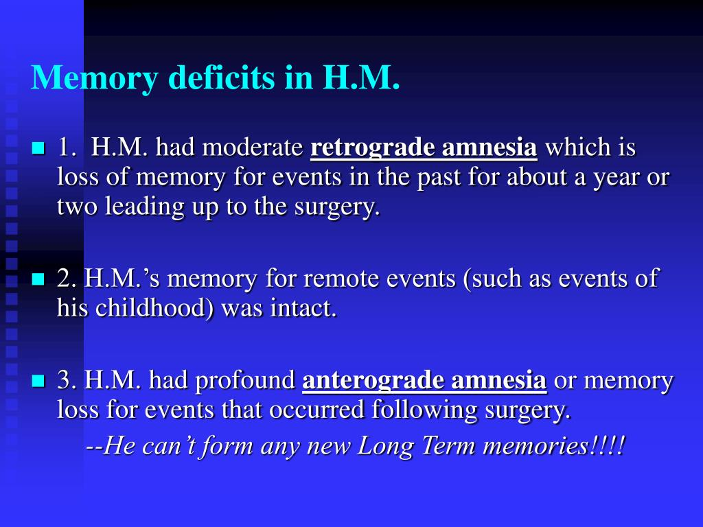 Memory deficits in H.M.