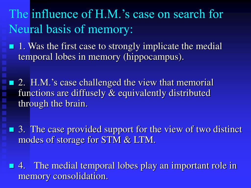 The influence of H.M.'s case on search for Neural basis of memory: