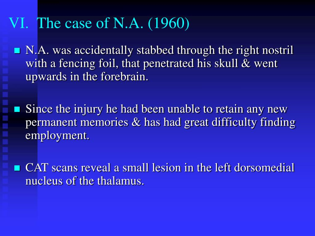 VI.  The case of N.A. (1960)