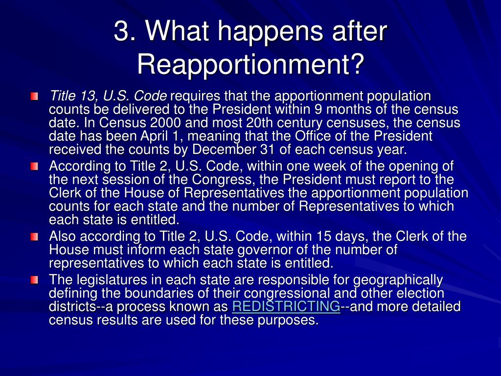 3. What happens after Reapportionment?