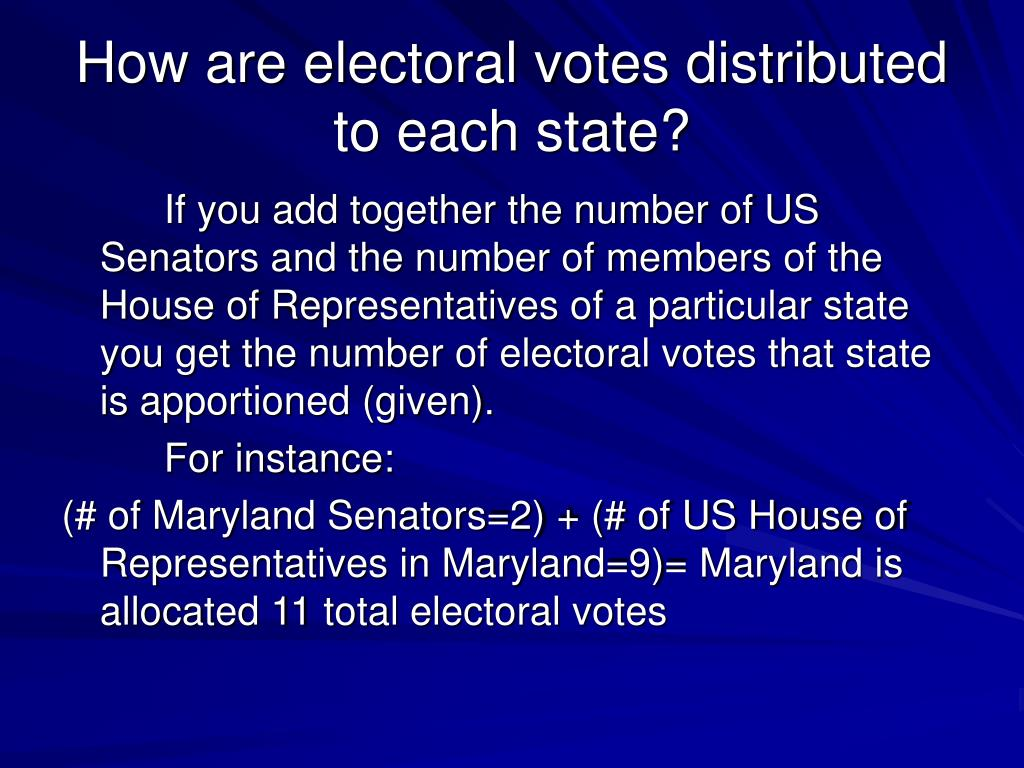 How are electoral votes distributed to each state?