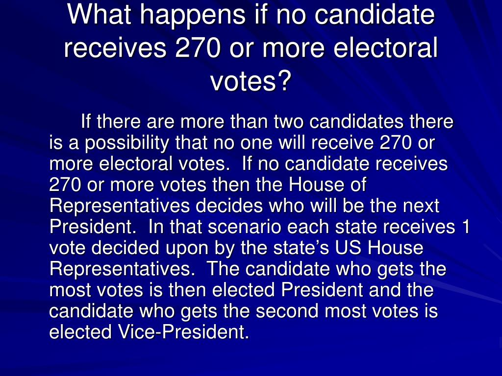 What happens if no candidate receives 270 or more electoral votes?