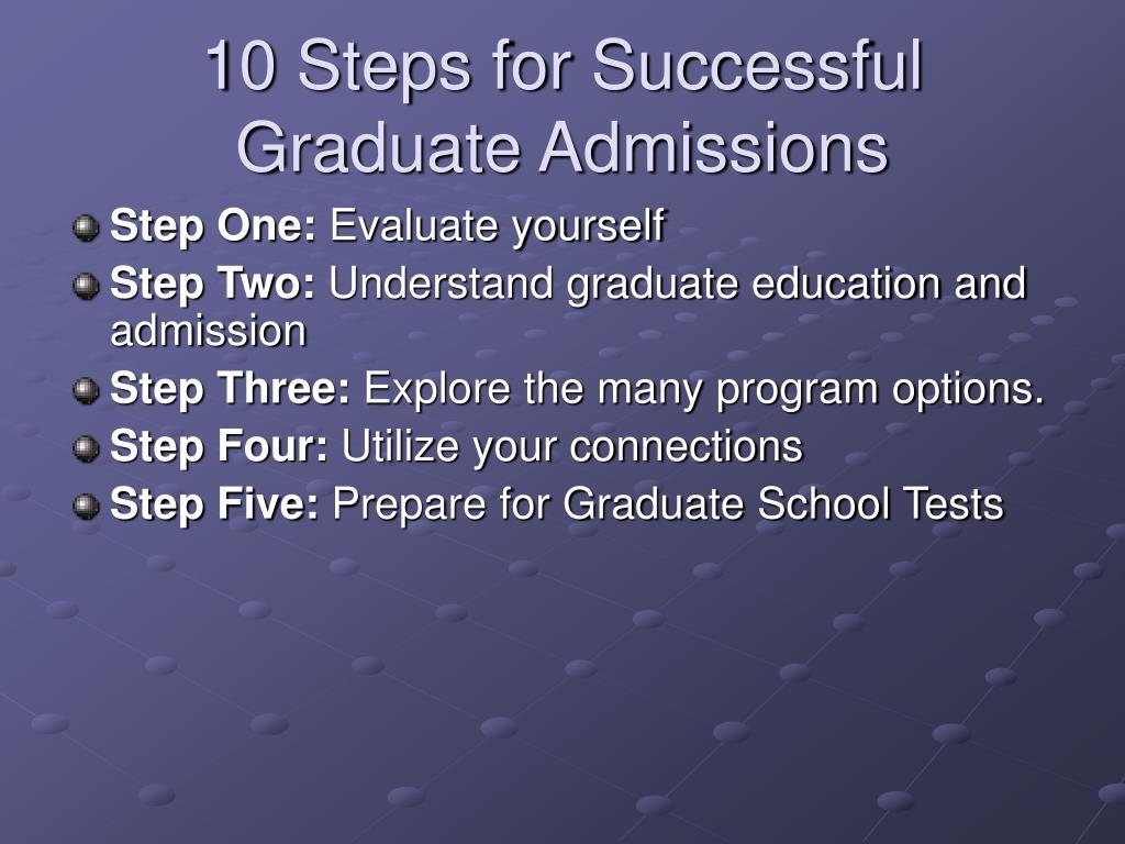 10 Steps for Successful Graduate Admissions