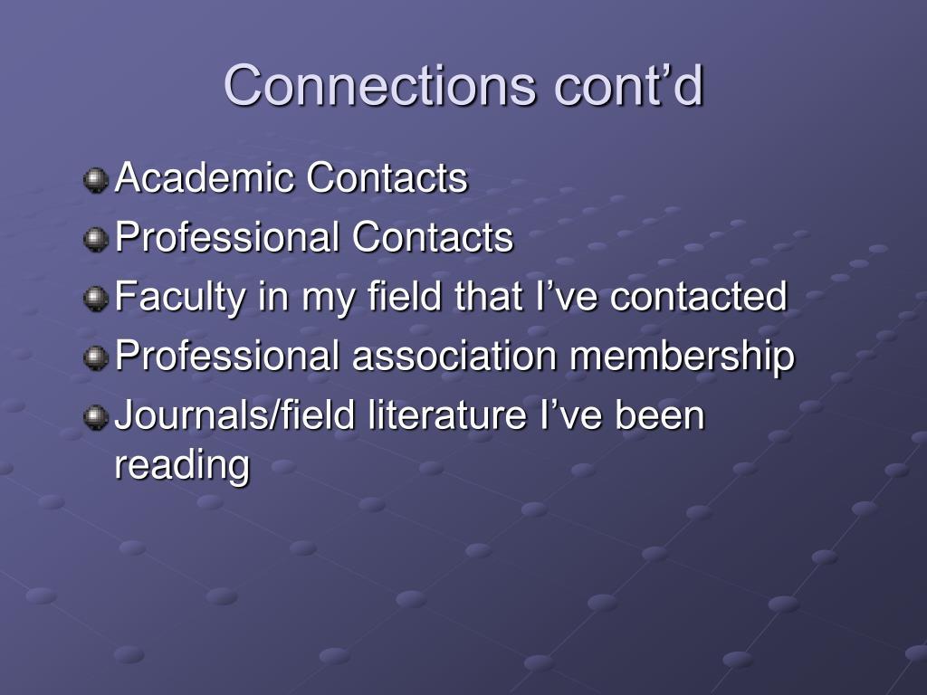 Connections cont'd