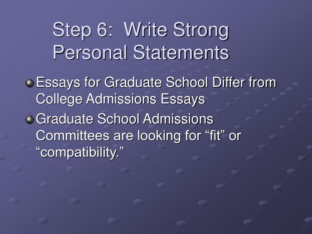 Step 6:  Write Strong Personal Statements
