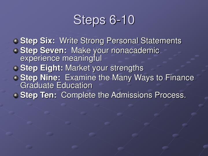 Steps 6 10