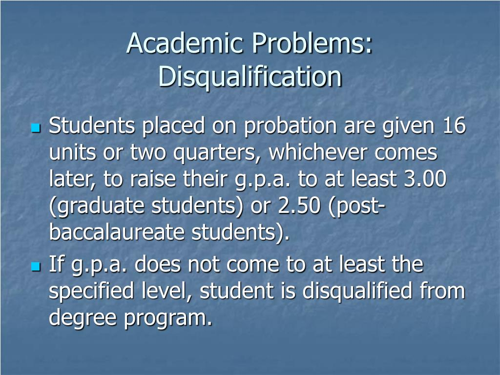 Academic Problems: Disqualification