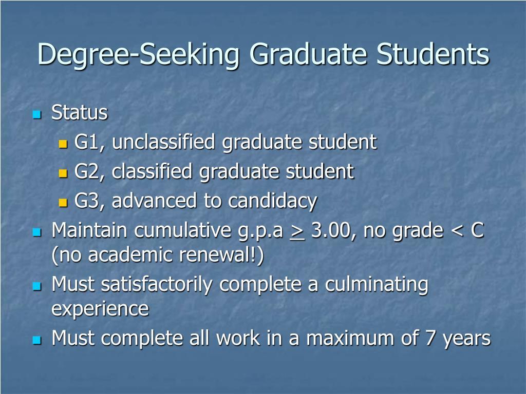 Degree-Seeking Graduate Students