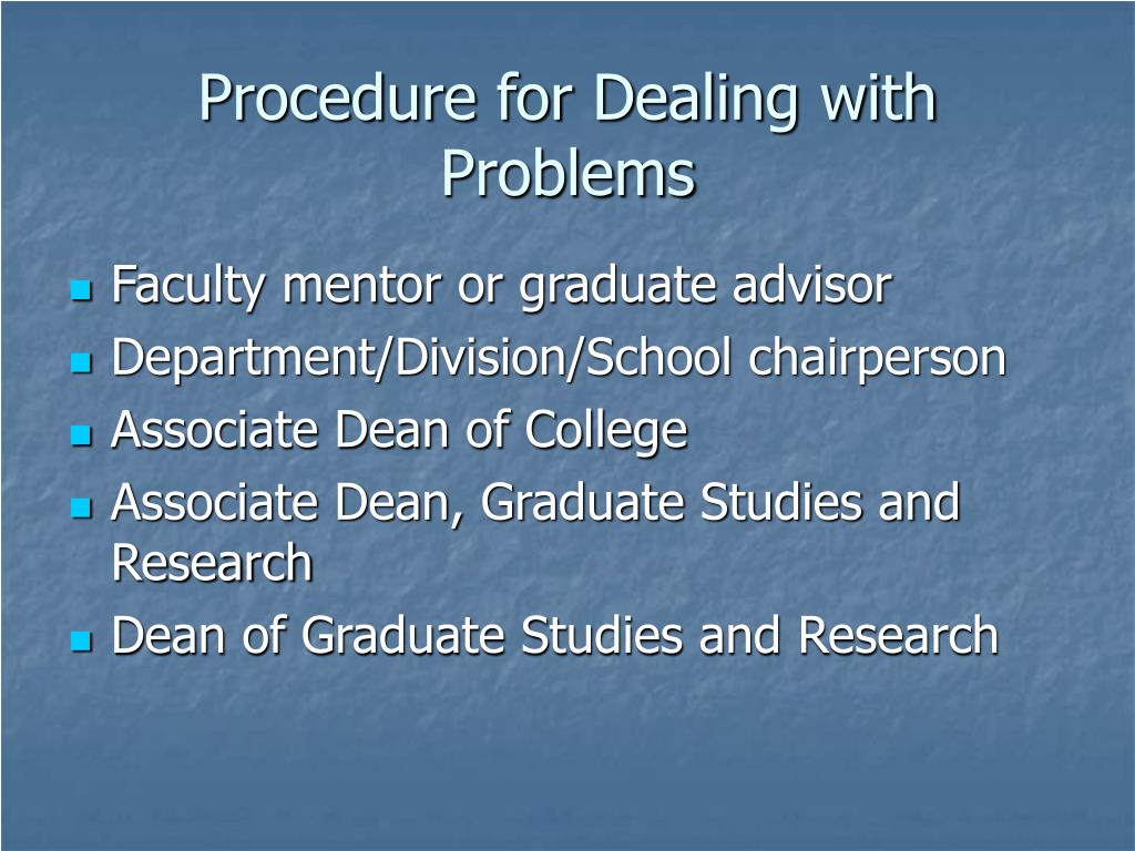 Procedure for Dealing with Problems