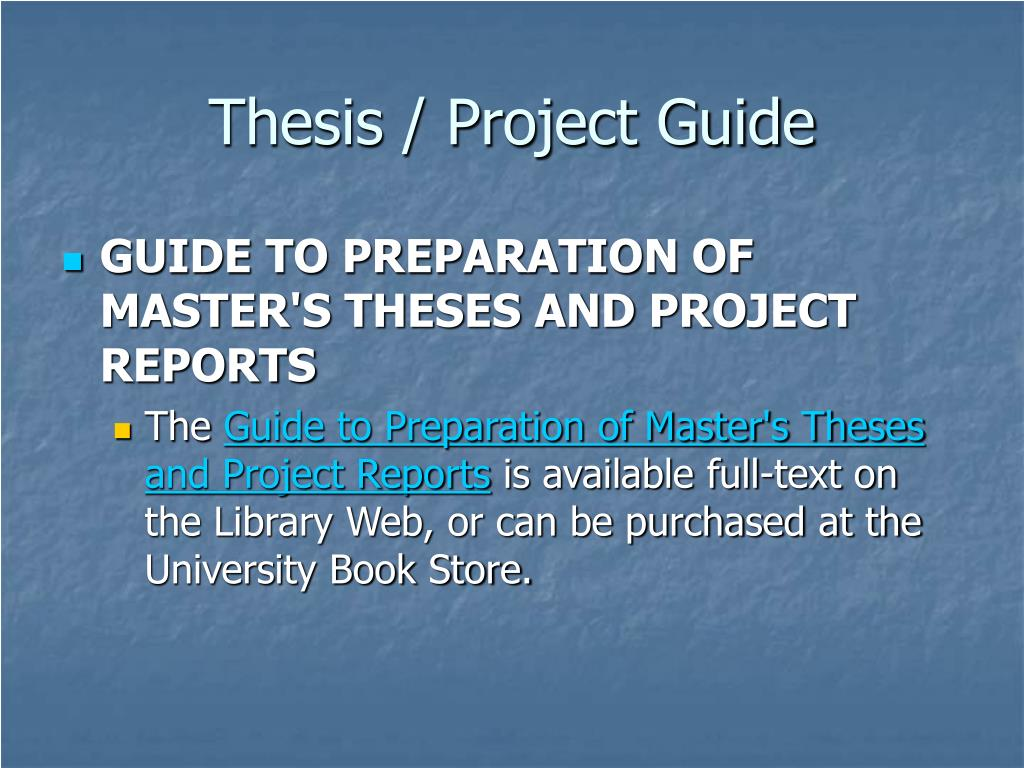 Thesis / Project Guide