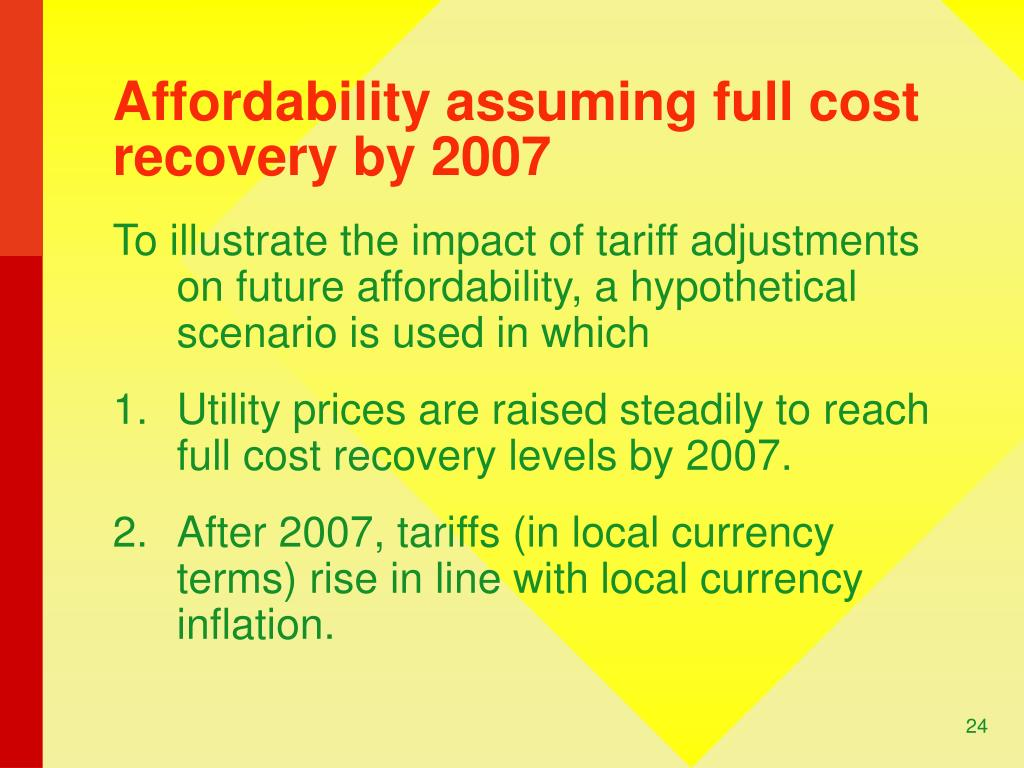 Affordability assuming full cost recovery by 2007