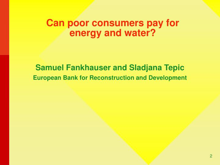 Can poor consumers pay for energy and water