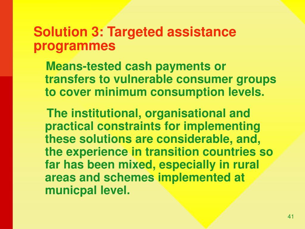 Solution 3: Targeted assistance programmes