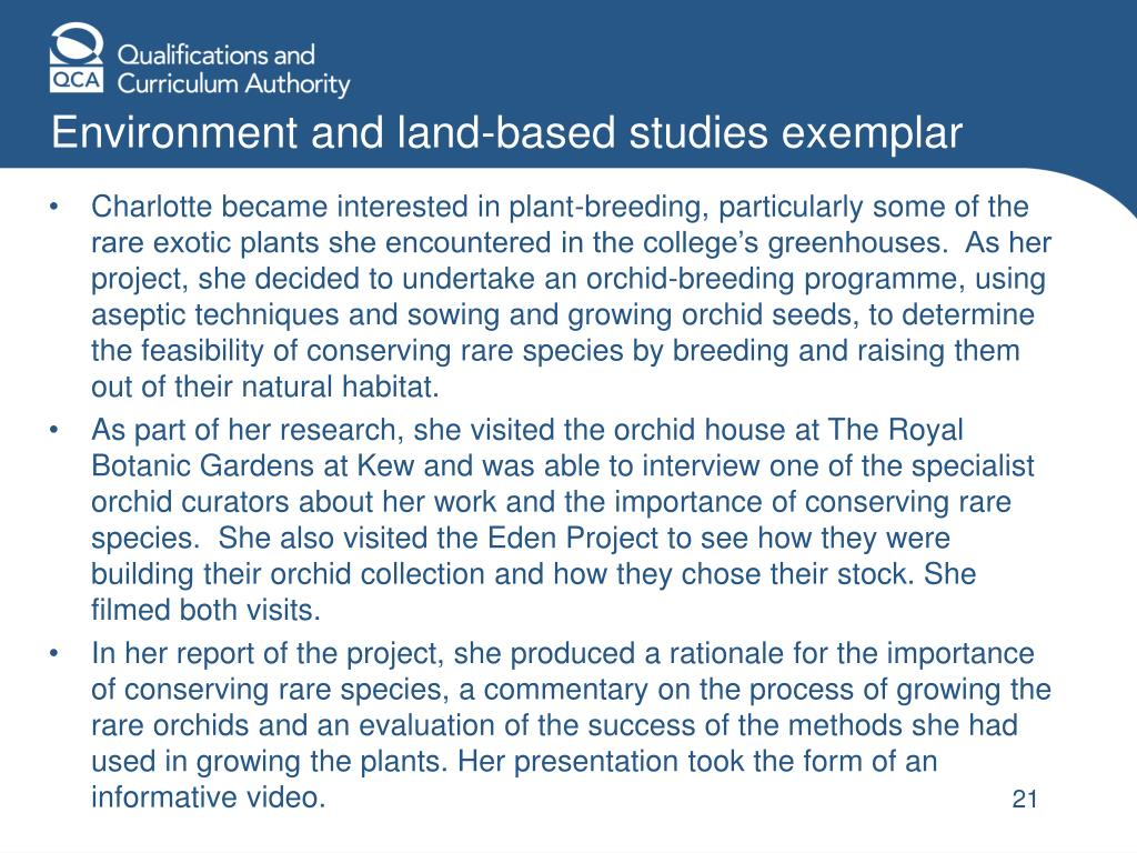 Environment and land-based studies exemplar