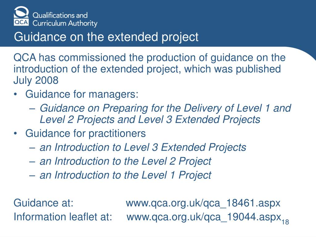 Guidance on the extended project