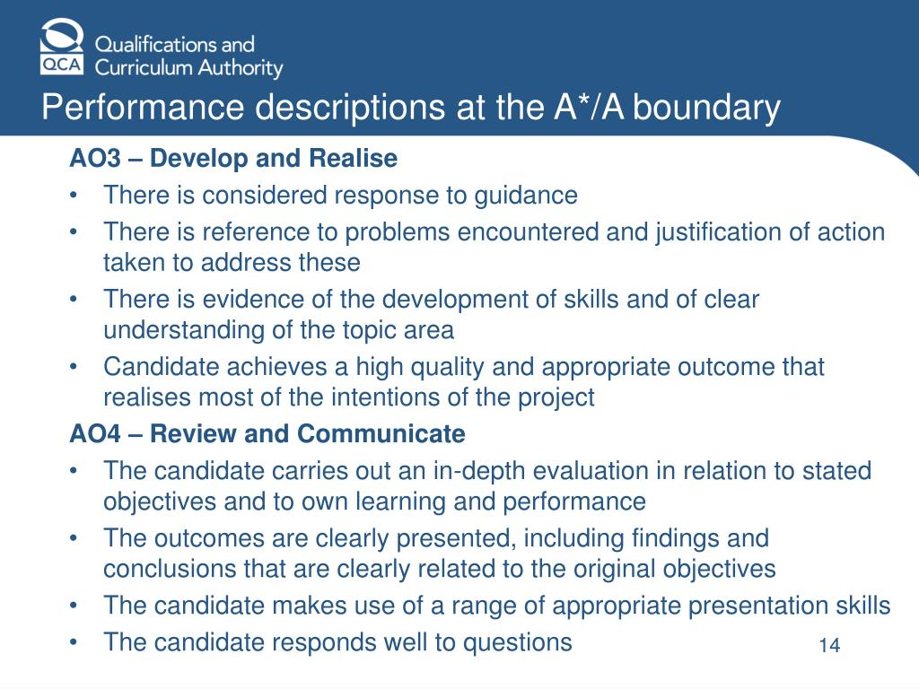 Performance descriptions at the A*/A boundary