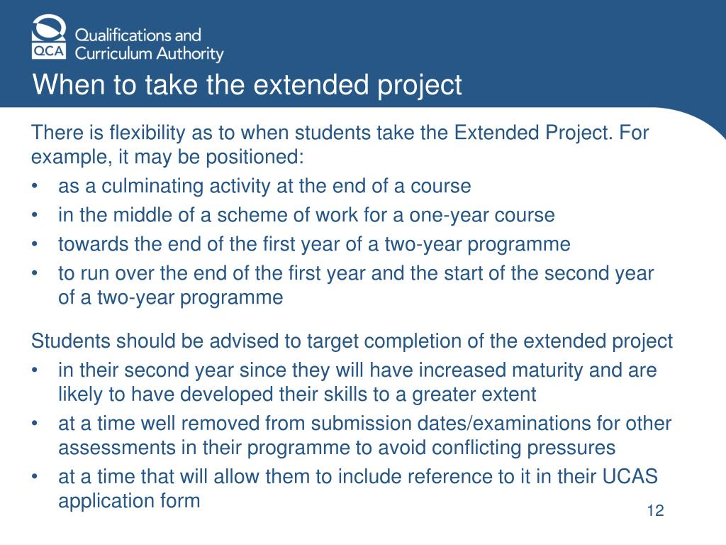 When to take the extended project