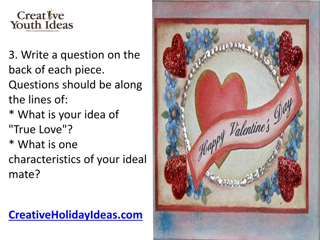 3. Write a question on the back of each piece. Questions should be along the lines of: