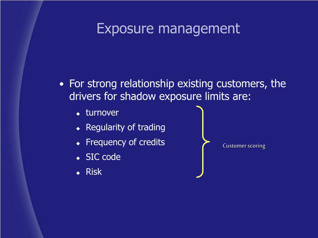 For strong relationship existing customers, the drivers for shadow exposure limits are: