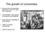 the growth of universities