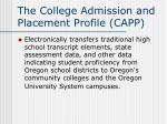 the college admission and placement profile capp