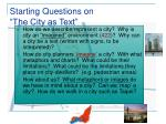 starting questions on the city as text