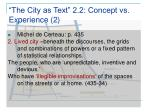 the city as text 2 2 concept vs experience 2