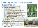 the city as text 2 2 concept vs experience 213