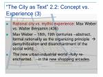 the city as text 2 2 concept vs experience 3