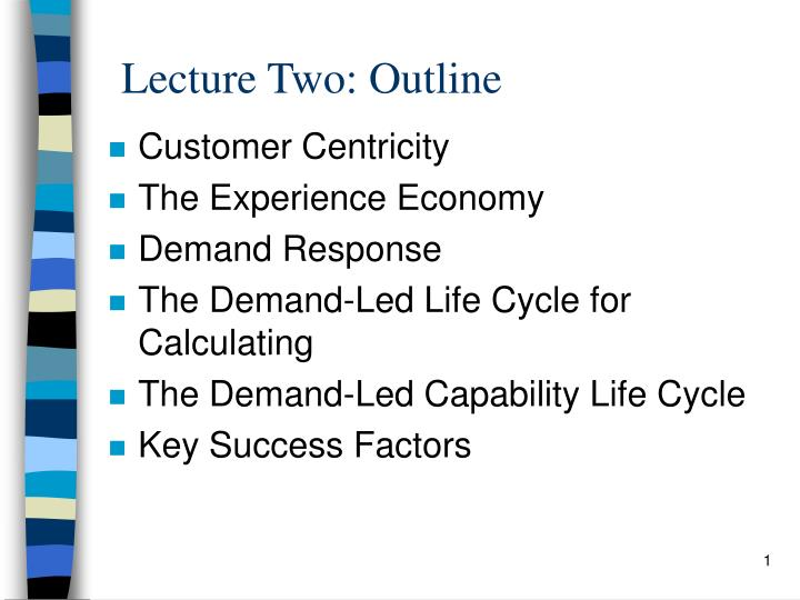 Lecture two outline