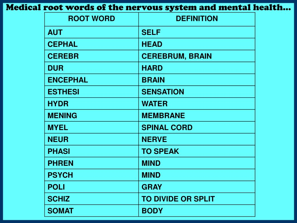 Medical root words of the nervous system and mental health…